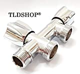 TLDSHOP Rubinetto DOPPIO per lavatrice/lavastoviglie - Carico Acqua - Rubinetto a muro per attacco lavatrice e lavastoviglie - 1/2'