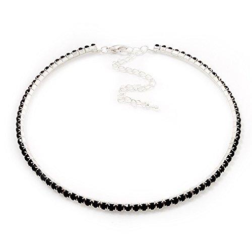 Avalaya Thin Austrian Crystal Choker Necklace (Jet Black)