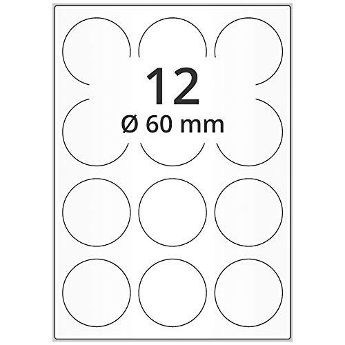 Labelident wetterfeste Folien-Etiketten - Ø 60 mm rund - 1200 PET Polyester Etiketten transparent matt, selbstklebend, 100 Blatt DIN A4 Bogen
