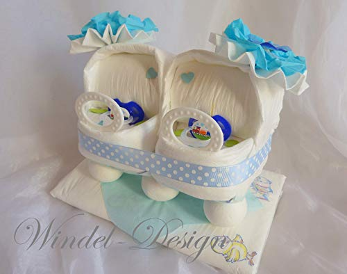 Windeltorte für Jungen blau Zwillinge Windelwagen, Geschenk, Babyparty, Geburt oder Taufe, auf Wunsch mit Grußkärtchen