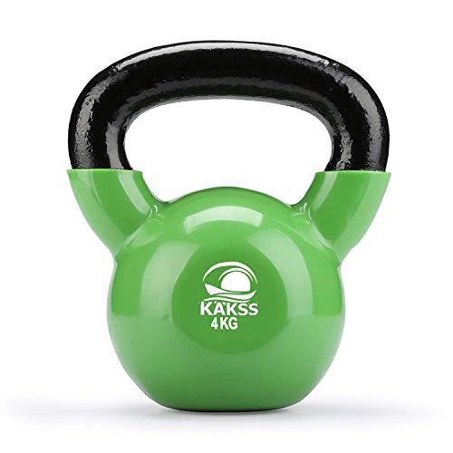 Kakss Vinyl Half Coating Kettle Bell for Gym & Workout (Size: (2KG, 4KG, 6KG, 8 KG, 10KG, 12KG) (4 KG (Green))