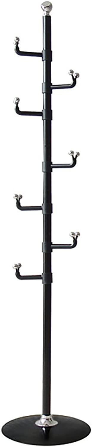 GWDJ Coat Rack Fashion Floorstanding Coat Rack Indoor Simple Hangers Bedroom Creative Clothes Shelf (3 colors Available) Coat Rack Shelf (color   Black)