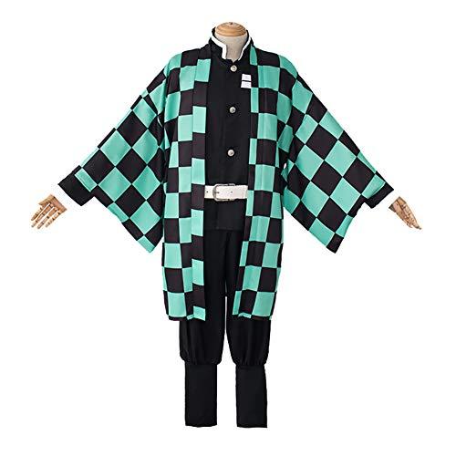 ROCK1ON Anime Demon Slayer Kimetsu No Yaiba Kamado Tanjirou Cosplay Kostüm Kimono Anzug Umhang Komplettset 6 Stück inkl. Strümpfe perfekt für Halloween Maskenparty, XL