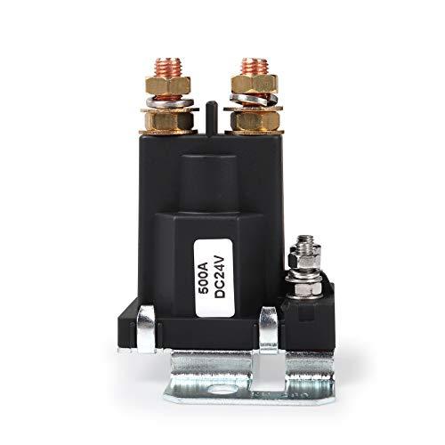 Ehdis Relé de Arranque de Alta Intensidad 500A DC 24V 4 Pin SPST Contacto automático de Arranque del Coche Doble Pilas Interruptor de Encendido/Apagado del Interruptor del aislador