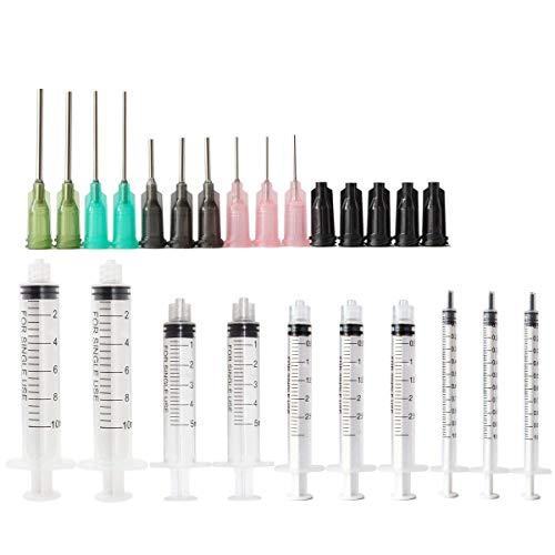 Spritzen-Set 10ml, 5ml, 2ml, 1ml Luer Lock Spritze Blunt Tip Nadel und Kappe - Blunt Tip 14ga 16ga 18ga 20ga Blunt Nadeln - Öl oder Kleber Applikator (10 Stück)