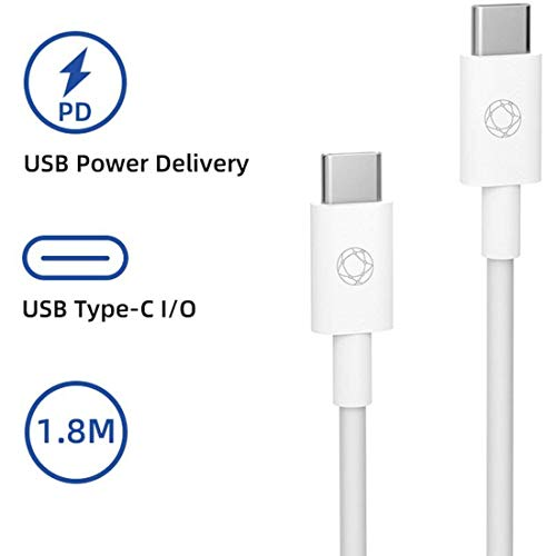 Inviolabs USB C naar USB C kabel, 60W laadkabel nylon gevlochten USB type-C snellaadkabel voor Samsung Galaxy Note 10 Plus A80 en universele telefoon, MacBook, iPad, laptop, 6 ft wit.