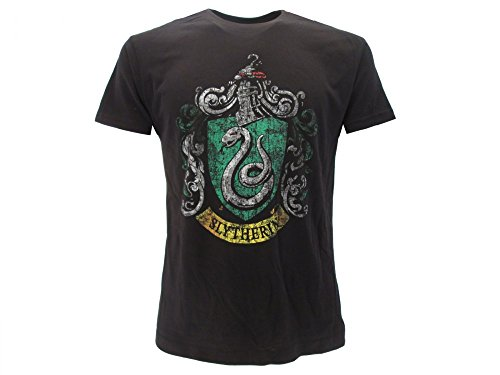 Harry Potter - Camiseta original con escudo de casa serpiente, vintage, color negro, producto oficial Warner Bros