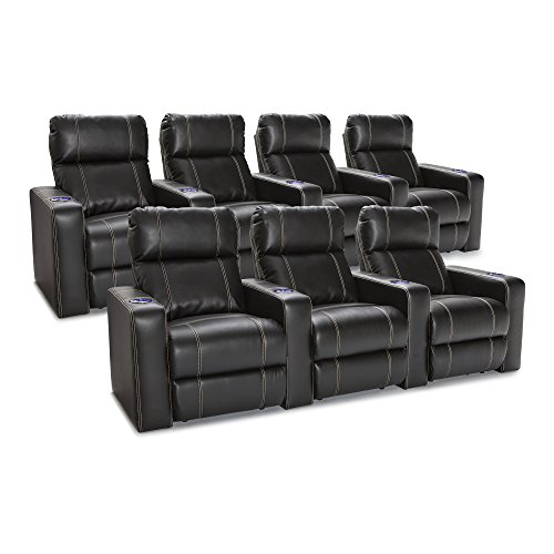 Seatcraft Dynasty Home Theater Seating Leather Gel Power Recline with Lighted Cup Holders and Contrast Stitching, Row of 3 and Row of 4, Black