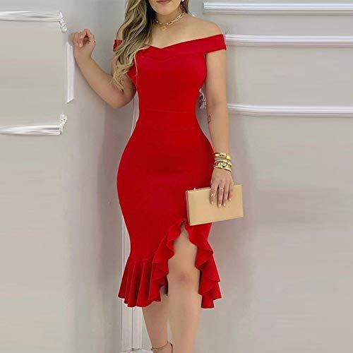 Vestido de Mujer Primavera Verano Nuevo Vestido de Fiesta a la Moda para Mujer Vestido Elegante con Hombros Descubiertos