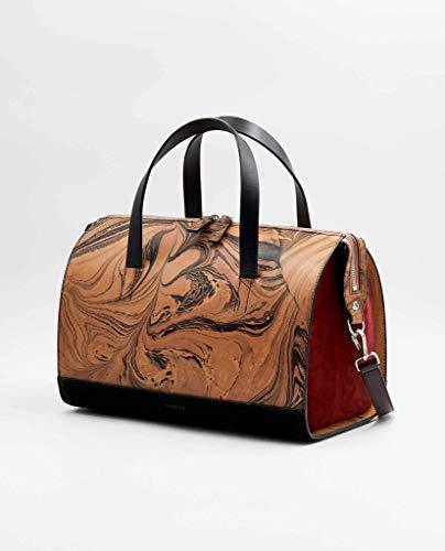 SOOFRE Berlin Marmor Leder Bowler Bag SOPHIE Damen Umhängetasche Schultertasche Henkeltasche Handtasche Bowling-Tasche, Schwarz | Rot