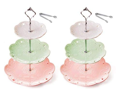 Jusalpha 3-tier Porcelain China Cake Stand-Dessert Stand-Cupcake Stand-Tea Party Serving Platter, multiccolor (Silver, 2 Set)