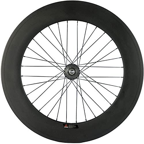 wsetrtg Rueda Trasera de Carbono con Engranaje Fijo Llanta 700c Bicicleta de una Velocidad/Bicicleta Fixie Rueda Trasera Tipo de Cubierta 88 mm Profundidad 23 mm Ancho Rueda de Bicicleta de Pista