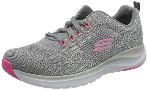 Skechers Ultra Groove, Zapatillas Mujer, Gris (Gray Knit Mesh/Hot Pink Trim Gyhp), 38 EU