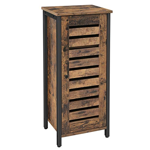 VASAGLE LOWELL Side Cabinet, Industrial Floor Cabinet with 2 Shelves, Freestanding Kitchen Storage Cabinet, Louvered Door, for Living Room, Hallway, Office, Bedroom, Rustic Brown ULSC35BX