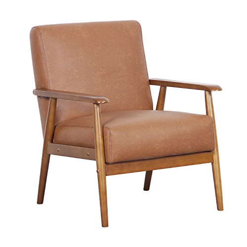 "Pulaski DS-D030003-329 Wood Frame Faux Leather Accent Chair, 25.38"" x 28.0"" x 30.5"", Cognac Brown"