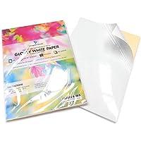 Cool Toner Folios adhesivos de papel de impresión de etiquetas Blanco brillante 50 hojas A4 Blanco