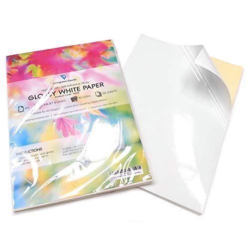 Evergreen Goods Ltd - Fogli di carta lucida autoadesiva per stampa di etichette, formato A4, confezione da 100, colore bianco lucido
