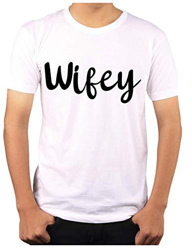Wow T-Shirts 'Wifey' Stylish T-Shirt with Saying T-Shirts - Themed Printed Cotton Unisex T-Shirt (L, Black)