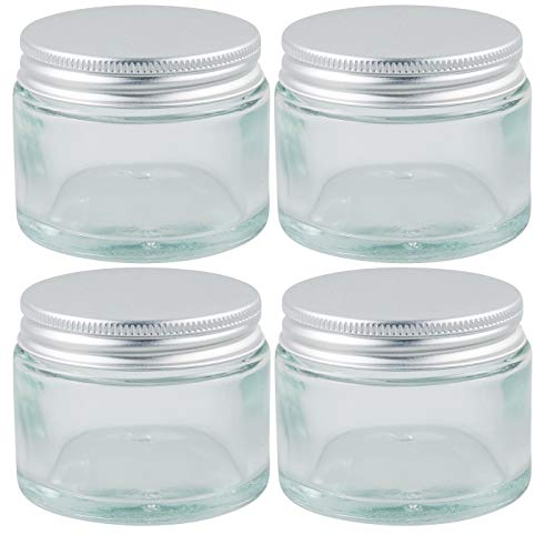 mikken 4 Tiegel Glastiegel Cremedosen 50 ml inkl. Beschriftungsetiketten