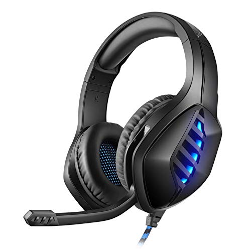 YING Surround Sound Stereo Professional PC USB Gaming Headset for PC Gamers, Headset Gaming, with Microphone, Double Bass, Ear-Hook Volume Control LED Light,Black