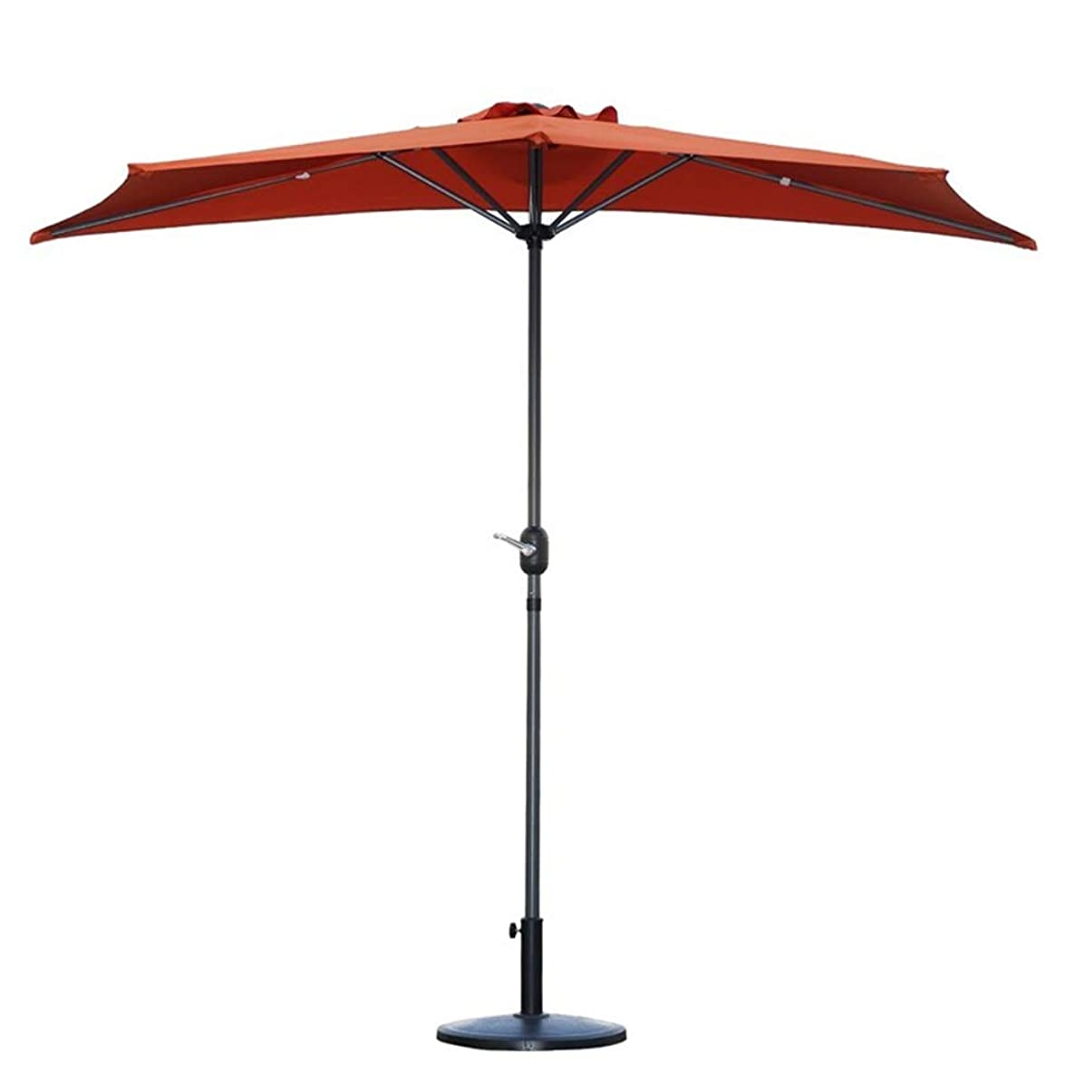 Umbrellas 2.7m(9ft) Outdoor Patio Semicircular Parasol Half with Crank, Sun Shade Semi Round Circular for Small Terrace Balcony Garden (Color : Orange)