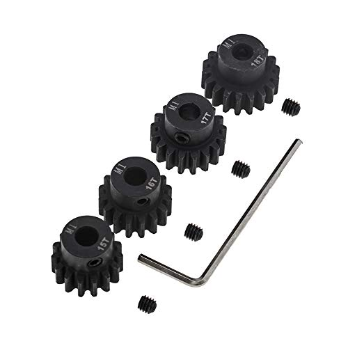 4pcs Mod 1 Pinion Gear 5mm Set Hardened 15T 16T 17T 18T M1 Pitch Gears RC Upgrade Part with Screwdriver