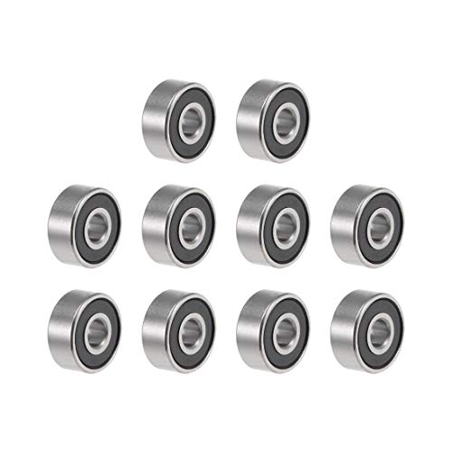 uxcell R2-2RS Deep Groove Ball Bearing 1/8' x 3/8' x 5/32' Sealed Z2 Lever Bearings 10pcs