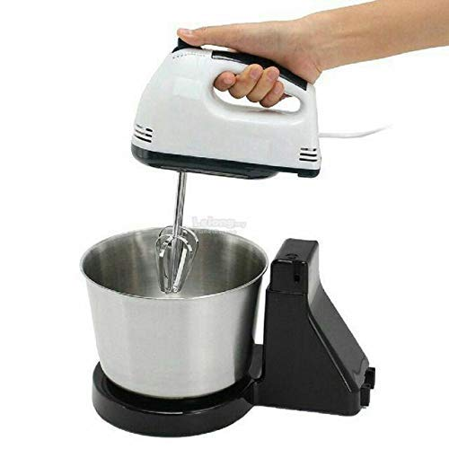 Meneflix 2 in 1 Hand and Stand Mixer - Dough Hook Accessories - 7 Speeds - 2L Stainless Steel Bowl and Non Slip Feet
