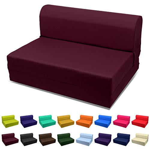Magshion Futon Furniture Sleeper Chair Folding Foam Bed Choose Color & Sized Single,Twin or Full (Full (5x46x74), Burgundy)