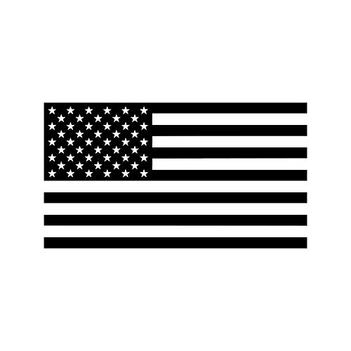 American US Flag [Pick Color/Size] Vinyl Decal Sticker for Laptop/Car/Truck/Jeep/Window/Bumper (18in x 10in, Black)