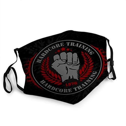 Wiederverwendbarer Gesichtsschutz Mundschutz Hardcore Training Faust und Kranz Fitness Bodybuilding Vintage Label für Flayer Logo oder Shi
