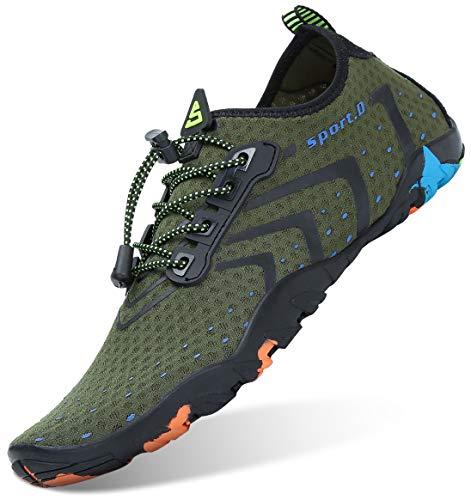 Unisex Zapatos de Agua Antideslizante Secado Rápido Natación Playa Surf Escarpines para Hombre Mujer Verde 35