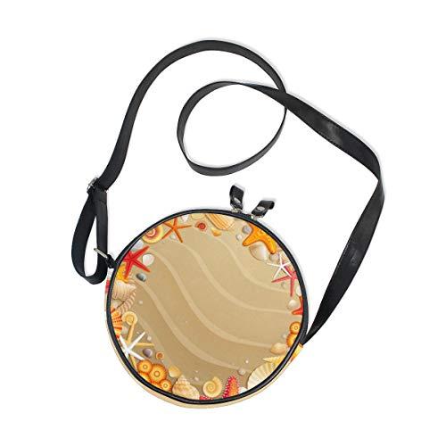 Runde Tasche für Damen / Mädchen, tropische Strand, Sandmuscheln, Seesternen, Segeltuch, Kreis