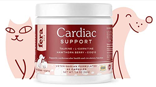 FERA PET ORGANICS Cardiac Support Cat and Dog Supplement with Taurine, L Carnitine, CoQ10, Vitamin E, and Hawthorn Berry, Cat and Dog Vitamins for Heart Health, 60 Capsules
