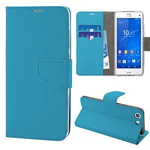N NEWTOP Cover Compatibile per Sony Xperia Z3 Compact, HQ Lateral Custodia Libro Flip Chiusura Magnetica Portafoglio Simil Pelle Stand (Azzurra)