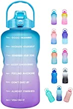 Venture Pal Large Half Gallon/64oz Motivational Water Bottle with Time Marker & Straw,Leakproof Tritan BPA Free Water Jug,Ensure You Drink Enough Water Daily for Fitness,Gym,Sports-Ombre Green Purple