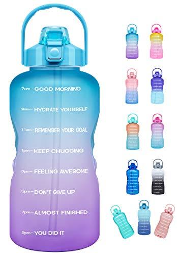 Venture Pal - Botella de agua deportiva con marcador de tiempo y pajita, a prueba de fugas sin BPA, reutilizable para gimnasio, trabajo y deportes al aire libre, 64 OZ, 01.Ombre-Azul Púrpura
