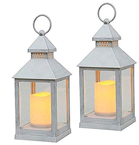 Astin of London 2 Pack Battery Powered Flickering Flame Effect LED Candle Hanging Lanterns