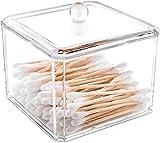 Recet Caja de almacenamiento de cosméticos de acrílico para almohadillas de algodón, dispensador de bastoncillos de algodón, caja para maquillaje, organizador con tapa, transparente (A)