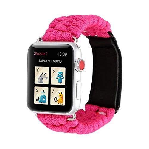 TIANQ Survival-Armband für Apple Watch 5, 44 mm, 40 mm, iWatch-Armband, 42 mm, 38 mm, Lederverschluss, für iWatch 5, 4, 3, 2, 1, China, Rosa / Rot