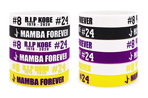 AVEC JOIE RIP Memorial Bracelet Basketball Silicone Bracelets Rubber Wristbands for Teens and Adults 12 PCS in Six Colors
