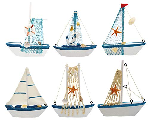 Wisonique Mini Sailing Boat, 6 Pcs Wooden Sailing