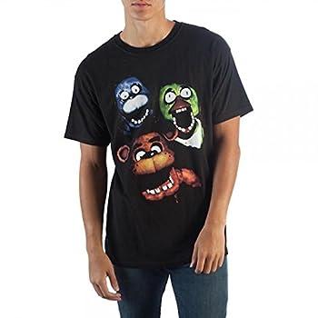 FNAF Film Style Group T-Shirt Creepy Animatronics Chica Bonnie Freddy Fazbear s Pizza Black Fitted Tee-Medium