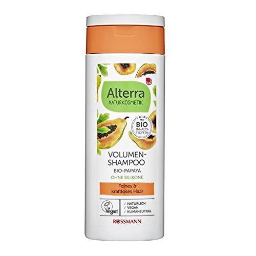 Alterra Volumen-Shampoo 200 ml für feines & kraftloses Haar, Kräftigung & Vitalität bis in die Spitzen, mit Bio-Papaya, Bio-Bambus & Bio-Mangoextrakt, ohne Silikone, Naturkosmetik, vegan