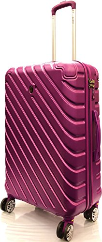 26'/71cm Medium Super Lightweight Durable ABS Hard Shell Hold Luggage Suitcases Travel Bags Trolley Case Hold Check in Luggage with 8 Wheels Built-in 3 Digit TSA Combination Lock(26' Medium, Purple)