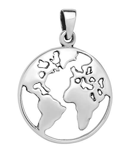 schmuxxi Welt Anhänger Silber 925 Weltkarte Weltkugel Kettenanhänger für Damen 25mm