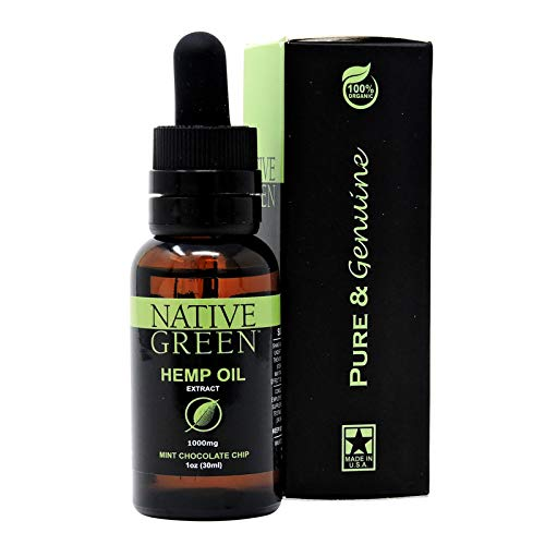 Native Green (Mint 1000mg) Hemp Oil for Pain Relief, Anxiety, Better Sleep, Insomnia, Skin Health, Depression & Stress Relief, Organically Grown and Made in The USA