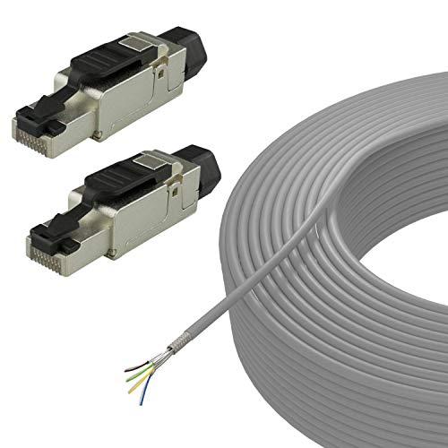 AIXONTEC 100 m CAT.7 Netzwerkkabel SET Grau mit 2x RJ 45 Cat.6A feldkonfektionierbaren Stecker 10 Gigabit Lan Kabel Installationskabel Verlegekabel selbstmontage ohne Werkzeug SFTP AWG 23 LSOH
