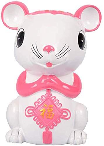LULUDP-Decoración Las estatuas del Zodiaco de la Rata/ratón Resina Chino Chinese Ornaments Decoración Figura, de Escultura y de Oficina Riqueza y Buena Suerte Linda Poco Banco Crafts Dos Colores, or