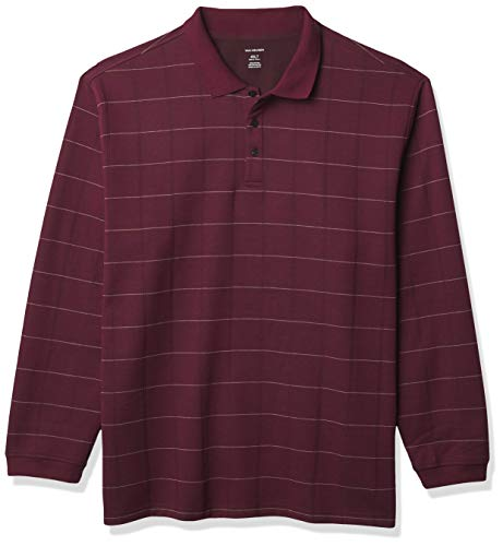 Van Heusen Big and Tall Flex Long Sleeve Jaspe Windowpane Polo Shirt, Burdeos, 4XL para Hombre